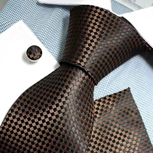 3PC Brown and Black Checker Tie Set FE1153