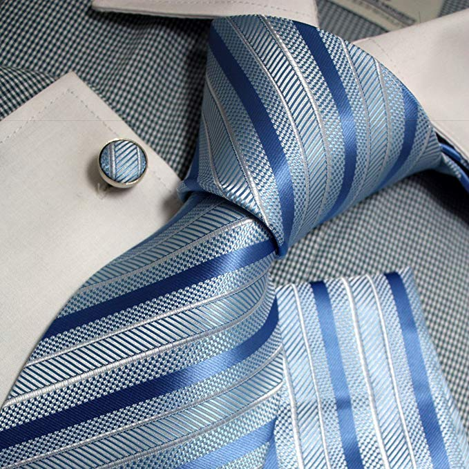 Blue and Gray Silk Striped Necktie Set FE1155- Free Shipping