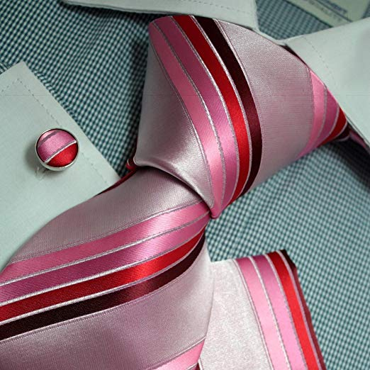 Pink Red Maroon Silk Necktie Set FE1116