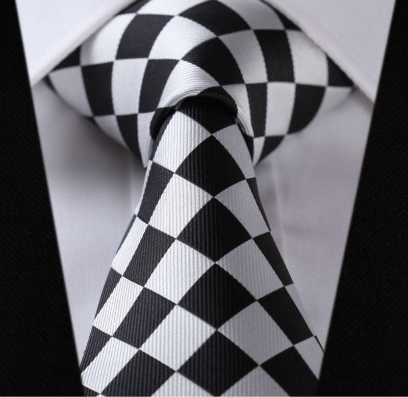 Silver and Black Diamond Necktie Set-HDCC16
