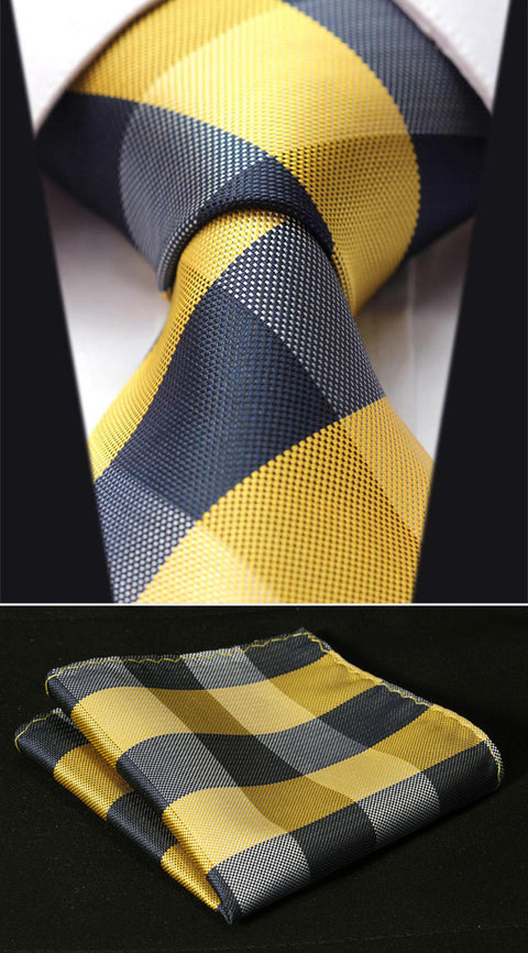 Yellow and Navy Plaid Necktie Set-HDI104