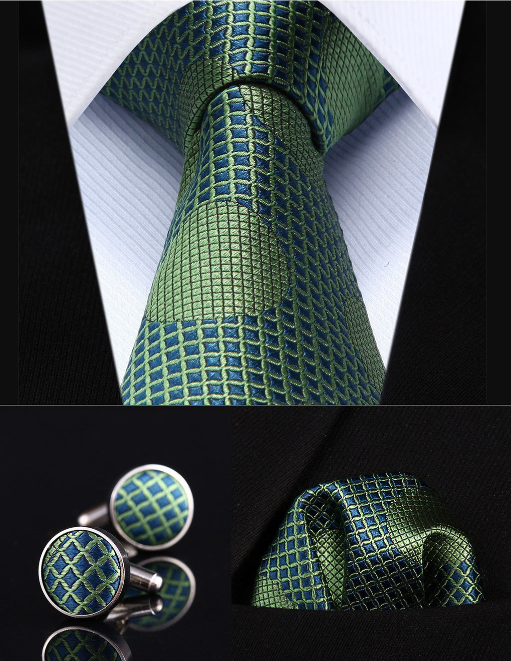 Green and Blue Polka Dot Necktie Set HDN01G