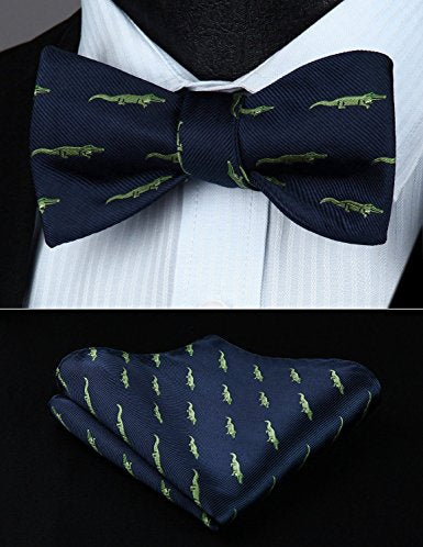 Navy Blue and Lt. Green Bow Tie Set HDN200