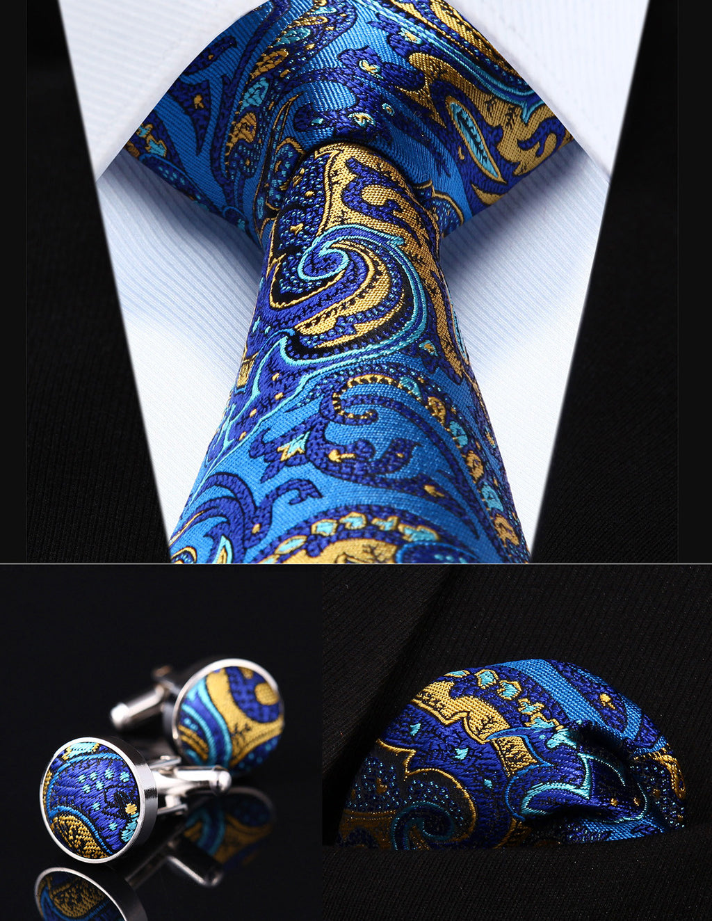 Blue and Yellow Paisley Silk Necktie Set HDN2B8