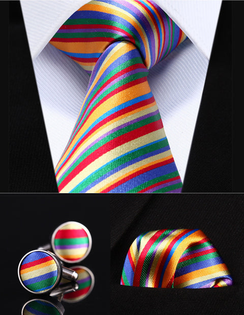 Yellow,Blue,Green and Red Silk Necktie Set HDN2G8