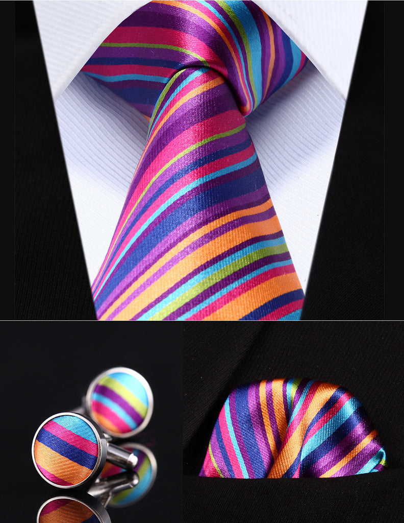 Pink,Green and Orange Striped Necktie Set HDN2K8