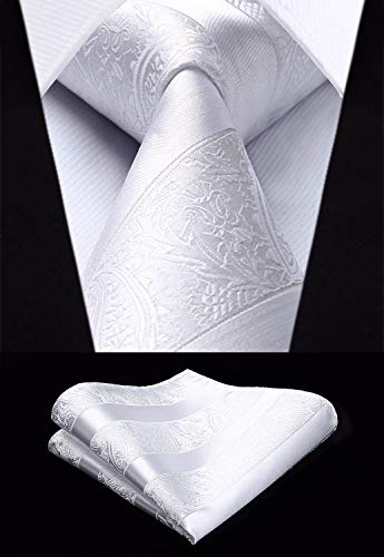 White Paisley Striped Necktie Set-HDN304