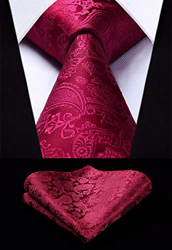 Maroon Paisley Wedding Necktie Set-HDN313