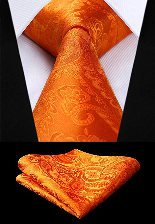 Orange Silk Paisley Necktie Set-HDN316