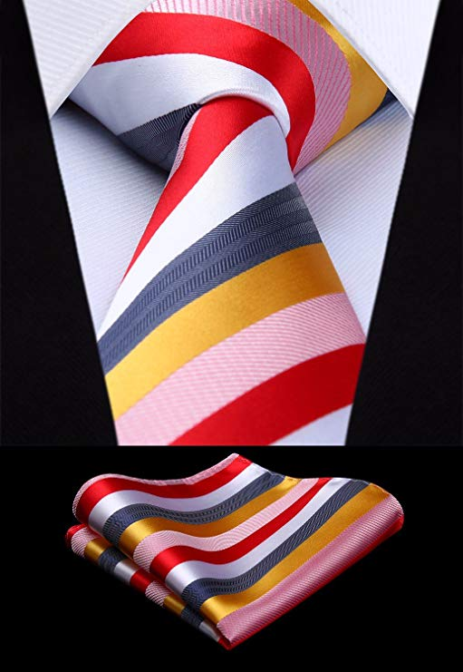 Multi Color Striped Silk Necktie Set-HDN317
