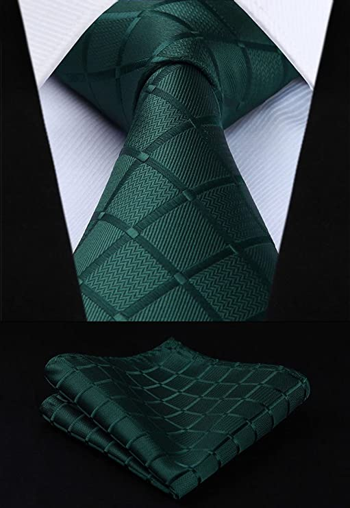 Green Silk Necktie Set- HDN319