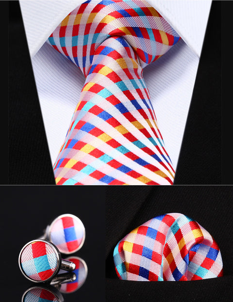 Red,Yellow and Blue Silk Check Necktie Set  HDN3N8