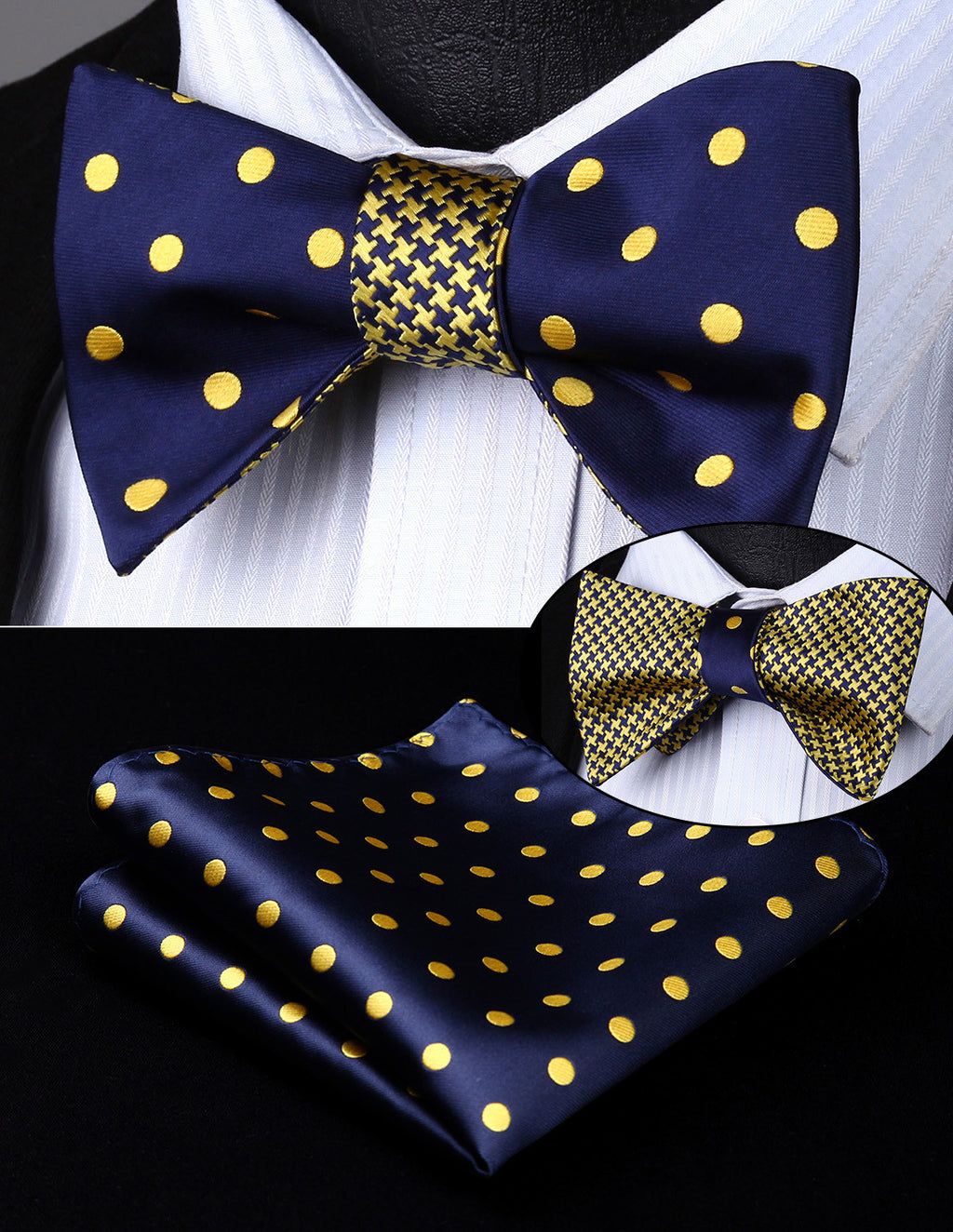Navy Blue and Gold Silk Bow Tie Set HDN4YS
