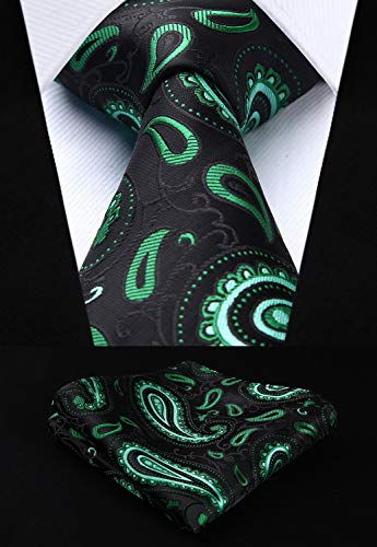 Green and Black Paisley Necktie Set HDN504