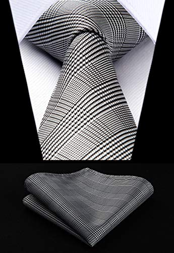 Black and White Houndstooth Necktie Set HDN505