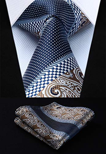 Navy Blue and Brown Silk Necktie Set HDN507