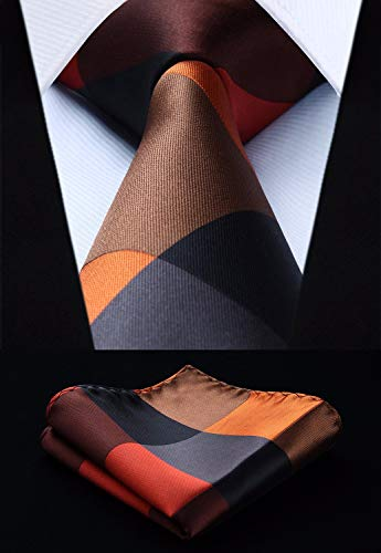 Brown Orange Gray Silk Necktie Set HDN5093