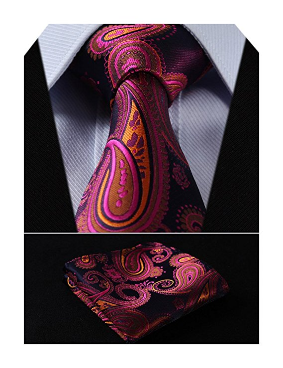 Pink Blue Orange Paisley Necktie Set HDN520