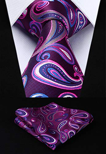 Purple and Blue Paisley Necktie Set HDN522