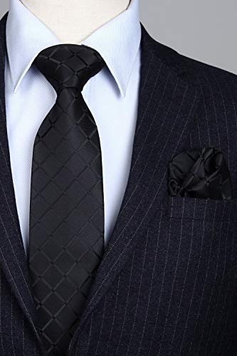 Black Silk Necktie Set HDN524
