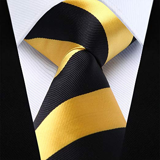 Gold and Black Silk Necktie Set HDN525