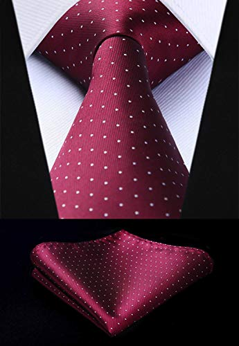 Burgundy White Polka Dot Necktie Set HDN526