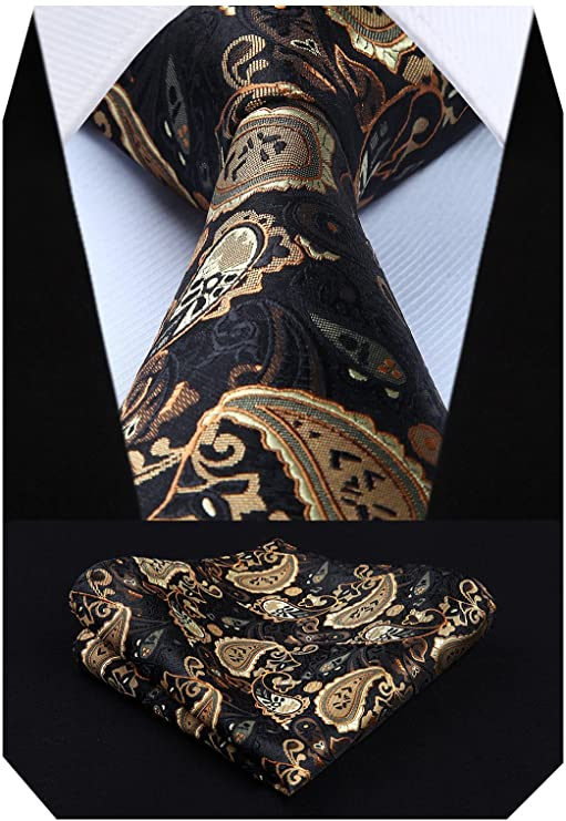 Brown Tan and Black Paisley Necktie Set-HDN530