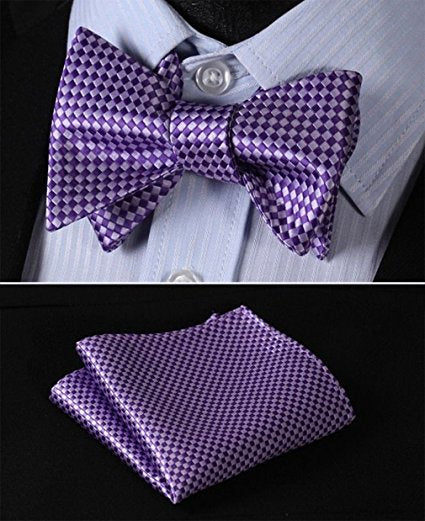 Purple Check Bow Tie Set HDN818