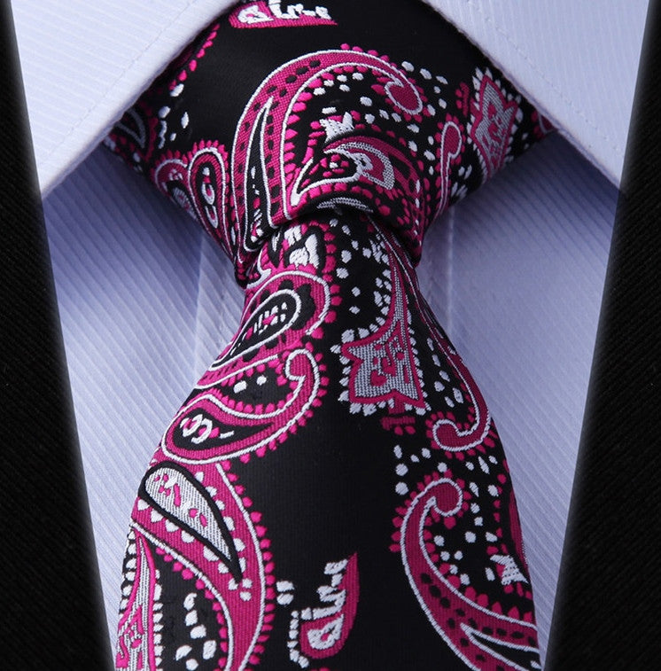 Black, Hot Pink, and Silver Paisley Necktie Set - HDND817 - Toramon Necktie Company