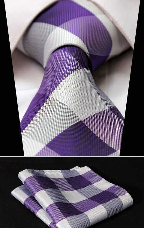 Purple and White Check Silk Necktie Set HDNI103