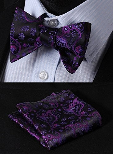 Purple and Black Bow Tie Set HDNL208