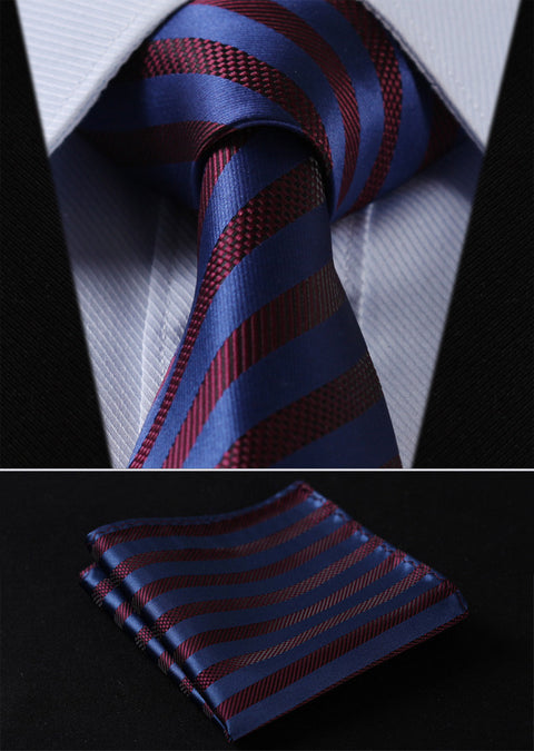 Blue and Burgundy Stripe Necktie Set HDNU8S
