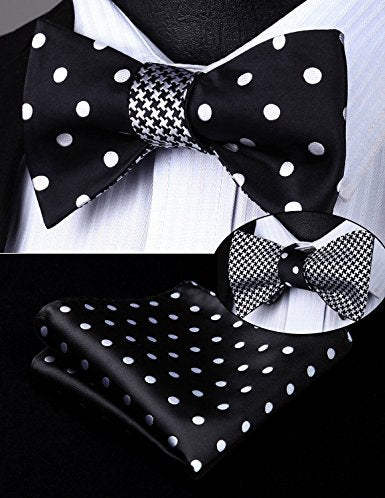 Black and White  Bow Tie Set Double Sided HDNX02