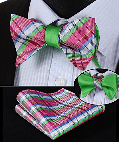 Pink and Green Bow Tie Set Double Sided HDNX03