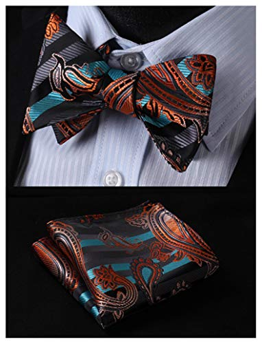 Aqua and Orange Paisley Floral Bow tie Set HDNX04