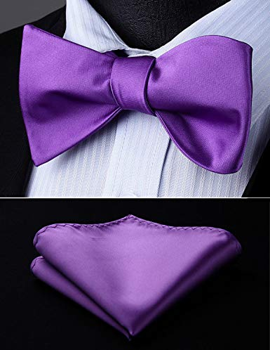 Violet Solid Wedding Bow Tie Set HDNX12