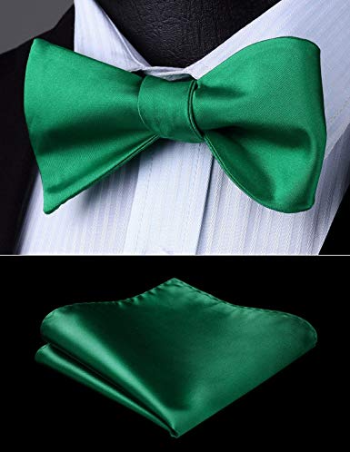 Emerald Green Solid Bow Tie Set HDNX14