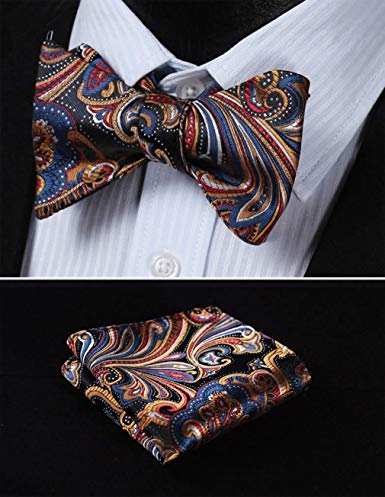 Blue Orange Gold Bow Tie Set HDNX17