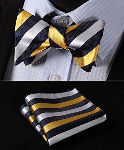 Yellow Blue White Bow Tie Set-HDNX31