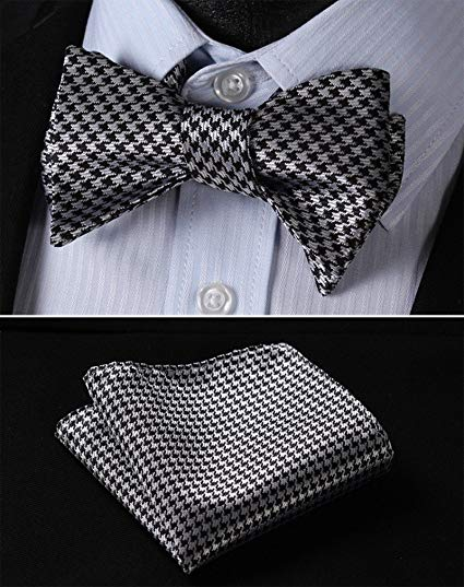 Black and Grey Hounds Tooth Bow Tie Set-HDNX32