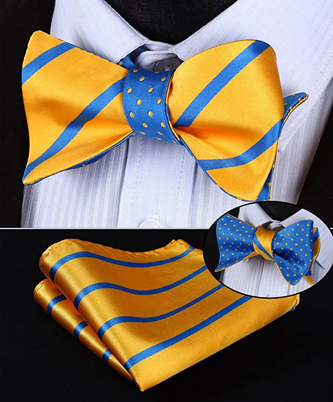 Yellow and Blue Bow Tie Set Double Sided-HDNX37