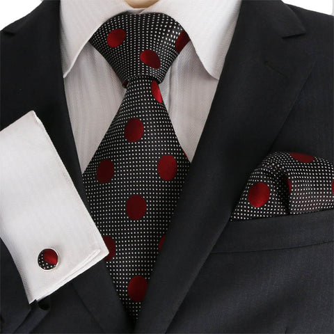 Black and Burgundy Necktie Set JPM18E18 - Toramon Necktie Company