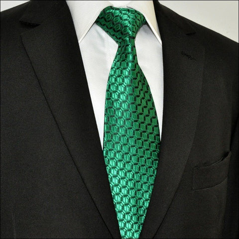 Green and Black SilkNecktie Set JXPA19
