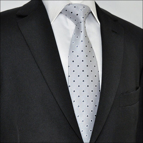 Light Gray and Black Polka Dot Silk Necktie Set JXPA21
