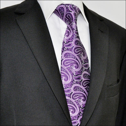Purple, Black and Silver Paisley Necktie Set JXPA32