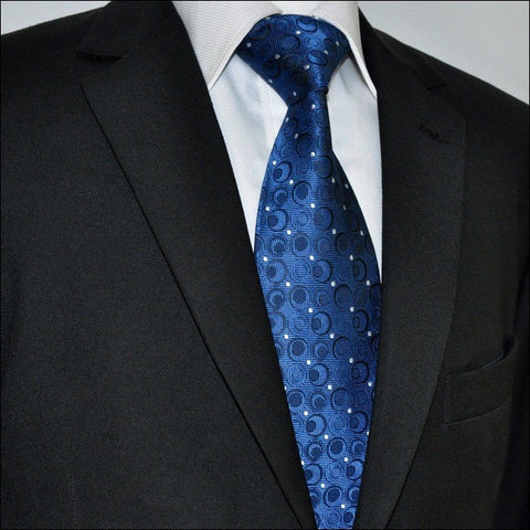 Navy Blue and Silver Geometric Silk Necktie Set JXPA35