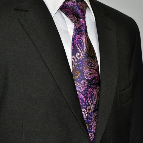 Purple Paisley Silk Necktie Set JXPA03
