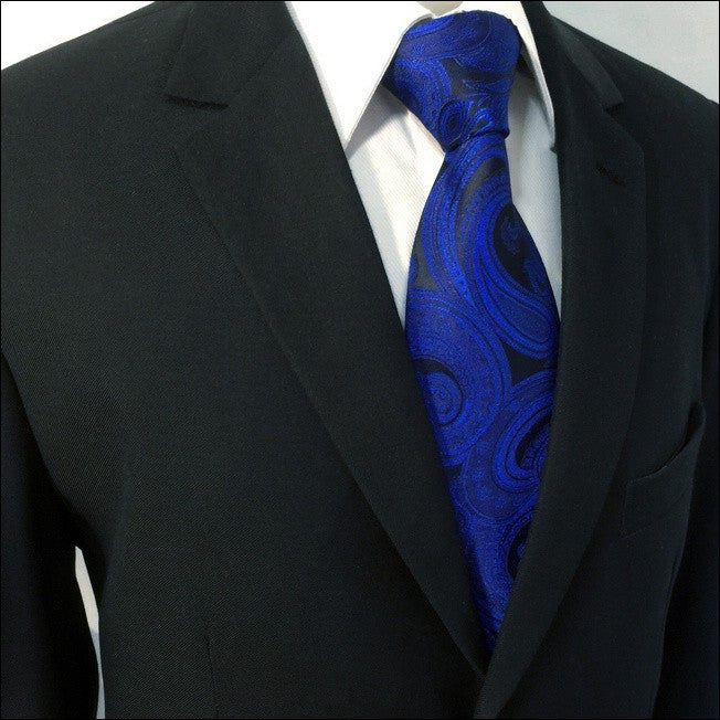 Navy Paisley Silk XL Necktie Set JXPB07