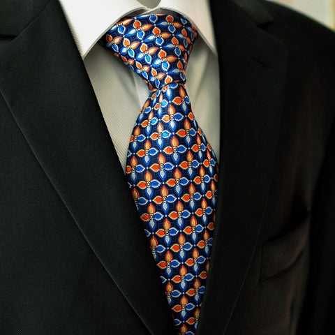 Blue,Orange,White and Gold Silk Necktie Set JXPP14