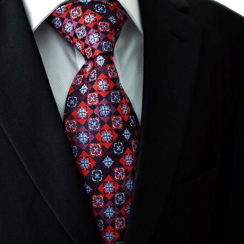 Black,Red,Mauve and Light Blue Silk Necktie Set JXPP04